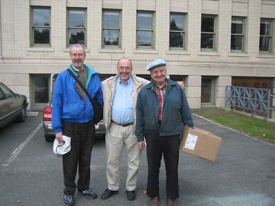 Dan Fitzgerald, Doug Fleury, and a happy Holyoke Public Library staffer to whom we had just given a pie (after HCHL meeting).