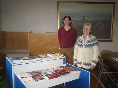 Kathleen Packard, Consumer Health Information Coordinator for Holyoke, and Ellen Moriarty, new president of the Holyoke Public Library Corporation, with book display at HCHL Annual meeting Oct 28 at Public Library.  For more photos of people at this meeting, click here.