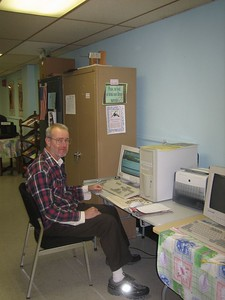 Next stop: Senior Center / Council on Aging (downstairs in Veterans War Memorial building on Appleton Street).  I was delighted to find Dan Fitzgerald using the computer there. He had recently attended the HCHL annual meeting, so enjoyed watching the arrival of new HCHL books.