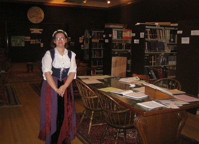 Another costume... Sarah Campbell, archivist in the History Room, Holyoke Public Library.