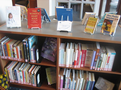 A collection of books on women's health, provided in collaboration with a local women's center.