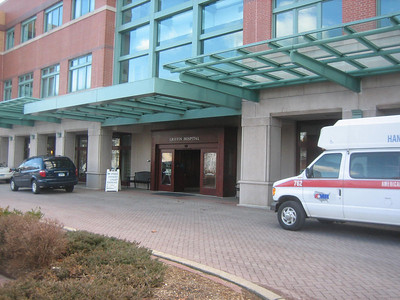 """Griffin Hospital entrance.  The library is to the left off the main lobby inside this entrance. Very easy to find and very pleasant atmosphere.  A pianist was playing on the piano in the lobby as we approached the """"Health Resource Center."""""""