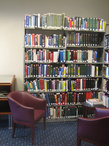 In an adjacent area, there is a medical library serving the Griffn Hospital doctors and staff.  Shown here are some of the medical reference books.  Doctors have 24 hr access to the library via a door from the Doctor's lounge.