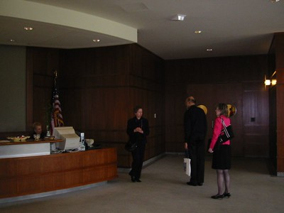 Librarian Elizabeth Fitzpayne (left) gives us a tour of the building.