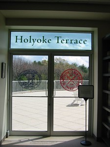 """Library patio recently named the """"Holyoke Terrace"""""""