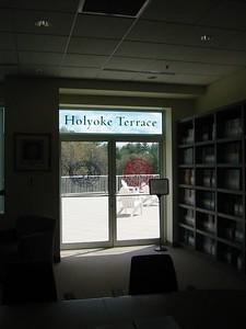 Holyoke Terrace as seen from inside Library.
