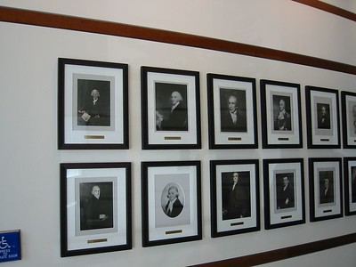 Portraits on wall near Conference Center entrance. Dr Holyoke is first one.