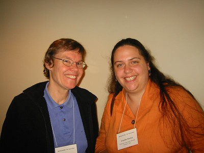 Sandy Ward (left) is also a descendent of  Edward A. Holyoke,  and founder of the Holyoke Consumer Health Library project. Jennifer Hartley, Consumer Health Information Coordinator for Holyoke, 2004-2005.