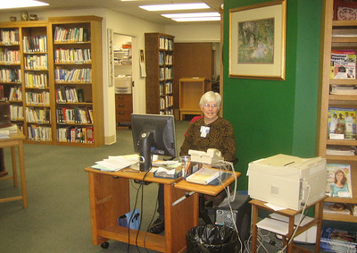 Reference librarian Sharon works parttime.