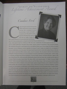 Spirit of Planetree Lifetime Achievement Award for Candace Ford. 2006.