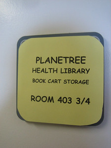 Within the main hospital is a very small room used for storing 3 booktrucks. Was the room number inspired by Harry Potter?