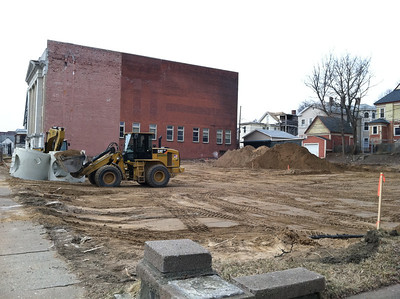 Another view of the same future parking lot, February 15, 2012.  The building in background is the Mount Tom Lodge of Ancient Free and Accepted Masons; the cornerstone of this Masonic Temple was laid in 1920. Their organization dates back to 1850, the founding of Holyoke.  They, too, will benefit from this new parking lot.