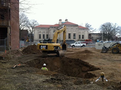 Digging hole for drainage infrastructure.  2/23/12