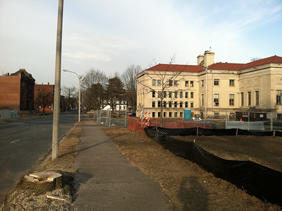 Some trees along the curbside have been removed.  February 14, 2012.  Chestnut Street will be modified to accommodate some diagonal parking, increasing the parking capacity.