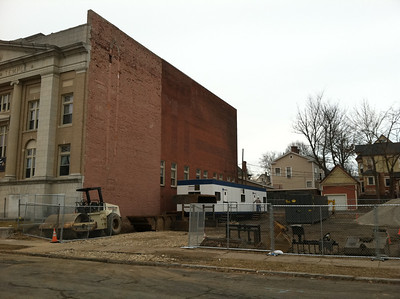The construction contractor's trailer was moved into place this week.  (viewed Feb 23).