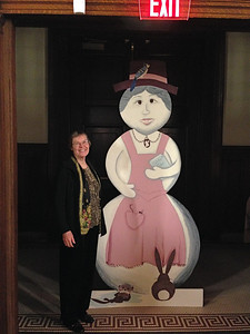 "The Friends Gala was held during Holyoke Winter Carnival.  This snow woman, holding a book titled ""Winter Tales,"" was created by Jen McManus and Sandy Ward for a previous Winter Carnival, and brought to the Library for 2014."