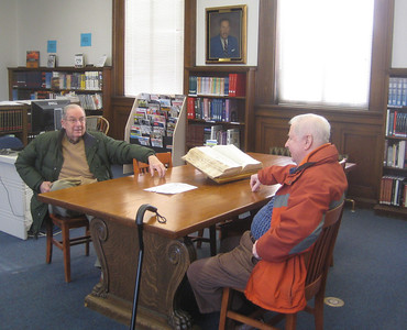 January 2010.  Friends Bruce Yarber and Dick Coleman awaiting a special tour of the Library building, including access to the attic and roof, and other non-public areas.  See Library Project album for photos of those January building tours.