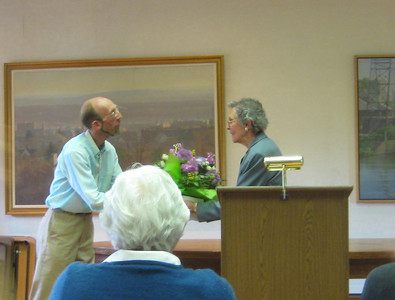 Tim Damon presented flowers to the out-going President of the Friends, Catherine Dower.