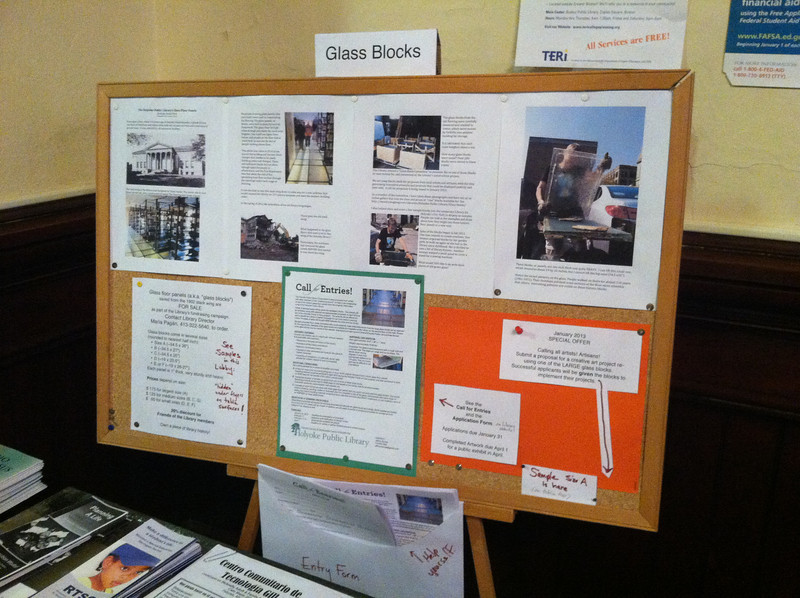 Bulletin board of information about the glass blocks.  I finished setting this up just before the TV news team arrived. Good timing!