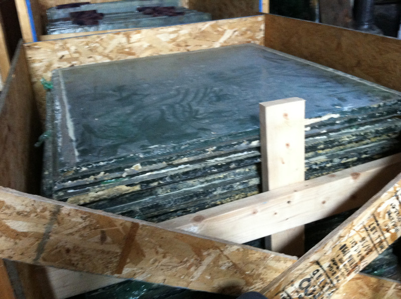 """Size A (34.5"""" x 36"""") glass blocks. These are the LARGEST ones.   For sale """"as is"""" @ $175 each.   It is estimated that this crate of 26 blocks weighs about a ton (2,000 lbs)!  If so, each block would be about 75-80 lbs. We have reserved thirty of this size for ARTIST proposals in early 2013."""