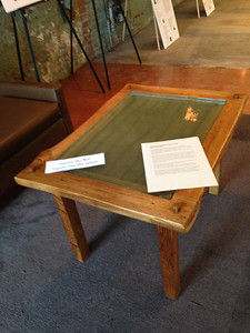 Beautiful table made by David Giese, Easthampton.    For sale for $1000.  On loan to the Holyoke Public Library.