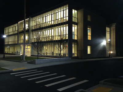The glowing library at night, November 20, 2013.