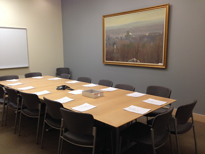 The Conference Room on Level 1 set up for a Board meeting, November 2013.