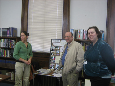 Kathleen Packard, Doug Fleury, volunteer,  and Michelle Eberle, Consumer Health Information Coordinator for New England