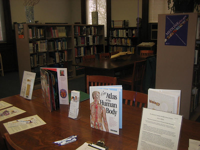Display of books and handouts