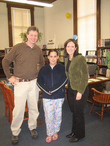Channel 40 (ABC) news team  and a student who was happy to talk with them.