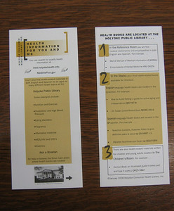 Rack card designed by HCHL librarian Kathleen Packard. Guide to health resources at the Holyoke Public Library.