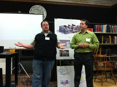Rory Casey (Friends of the Library, and Library Campaign Speakers Bureau) and Aaron Vega (City Councilor, and member of the Library Building Committee)
