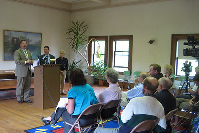 Mayor Mike Sullivan speaking at the Press Conference 9/9/2009 about the safety fence and barrier erected at the Library.