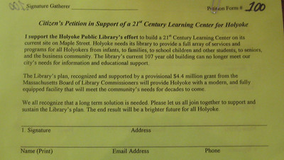"Petition drive to gather support for a revitalized/expanded library, a ""Learning Center"" for the 21st Century."