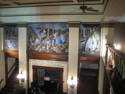 View from gallery of the murals about the main entrance:  Allegoric History of Holyoke, Massachusetts. Painted 1943-1953 by Sante Graziani.