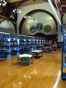 New overhead lighting now illuminates the library reading areas.  May 25, 2012.