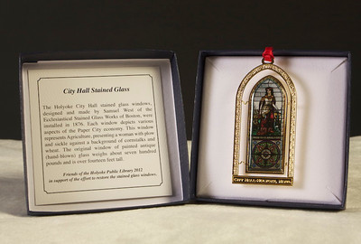 The Friends of the Library chose to highlight City Hall's stained glass windows in a new ornament created in fall 2012.
