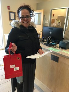 This woman was not present during the 3:00pm Sat drawing, but when called about her Lucky Ticket winning the Ride on a Fire Truck, she rushed to the Library to collect the prize, which she said will be a wonderful surprise for her grandchild. The Holyoke Fire Dept will drive a fire truck to school...