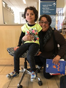 A Zebra fan  and his mom -- VERY pleased to win this Zebra stool!