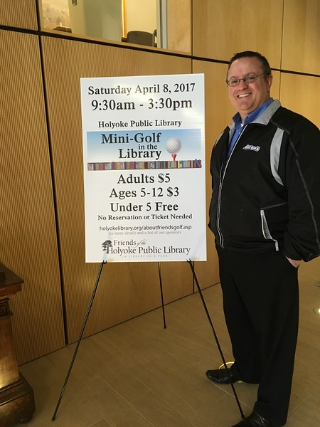 Scott from Aaron's visited the Library March 30 to see where the 1st hole will be, and plan how to use that space.