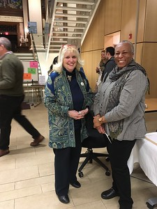 Karlene Shea, President of the Friends of the Library, and roxann Callender, board member of Holyoke Public Library Corporation and HPLC liaison to the Friends.