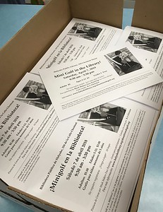 Bilingual flyers ready to be distributed to the 5,300 students in Holyoke Public Schools.  Volunteer Ellie Dunn counted out the number needed for each school and delivered the flyers (while Sandy Ward prepared another batch of flyers –without the HPS disclaimer– for pre-schools and charter schools)