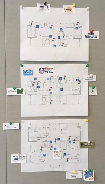 For 2018, we posted the map of the 18-hole course on a wall in the Community Room (instead of reproducing it on every scorecard). Thus the scorecards could become more convenient to carry: folded to pocket size.  Logos of each of the 22 sponsors were included on the scorecard.