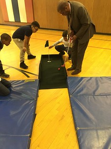 "A few weeks later, I took the practice hole to an after-school program at Lynch School. Rafael from the Sheriff's Dept showed the 2nd and 3rd graders how to play.  These kids got excited. ""When can we play again?"""