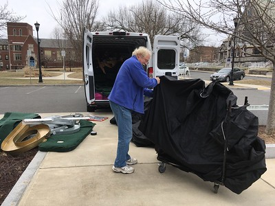 The day before the event, Russ Bolton of Library Mini Golf, LLC, drove a van to Holyoke, bringing us the mini golf equipment.