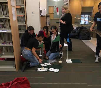 Holyoke High School students in the Upward Bound program came to help setup the course.  Danielle Brown volunteered as coordinator; she had previously worked with Upward Bound.