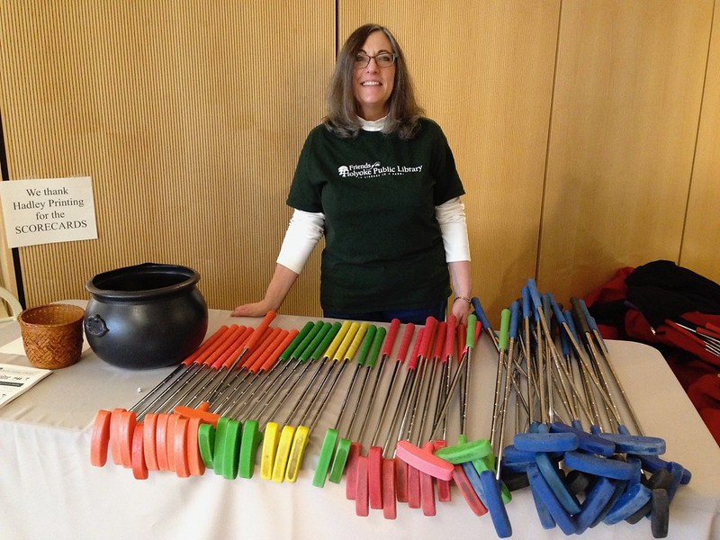 Friends board member Elizabeth Veillette volunteering at the equipment table.