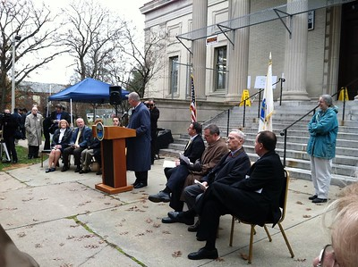 Terry Plum speaking at the official Ground Breaking ceremony for the Library expansion. November 17, 2011.