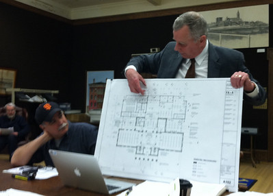 April 12, 2011. Library Board meeting.  Terry described recent changes in the design of the facade of the library extension.