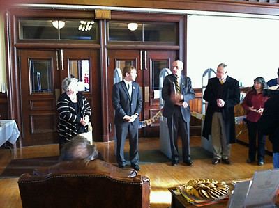 Speeches and Ribbon-cutting for the Re-Opening of the Library (in temporary quarters), January 23, 2012.